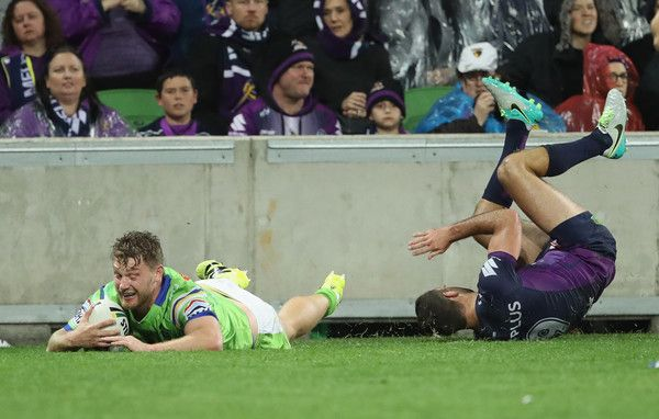 Elliott Whitehead of the Raiders scores a try during the NRL Preliminary Final match between the Melbourne Storm and the Canberra Raiders at AAMI Park on September 24, 2016 in Melbourne, Australia.