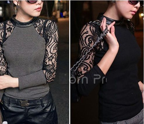 Sheer lace shirt in black and gray
