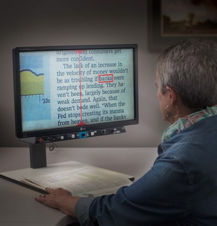 The Orabis assistive technology device is a reading device that scans a document and reads aloud the desired text that the user selects. This device highlights the word that is currently being read, and has many added benefits than more traditional magnifying devices. This device provide the user the ability to read specific sections of text in comparison to devices that simply read all of the information that is displayed on the screen.