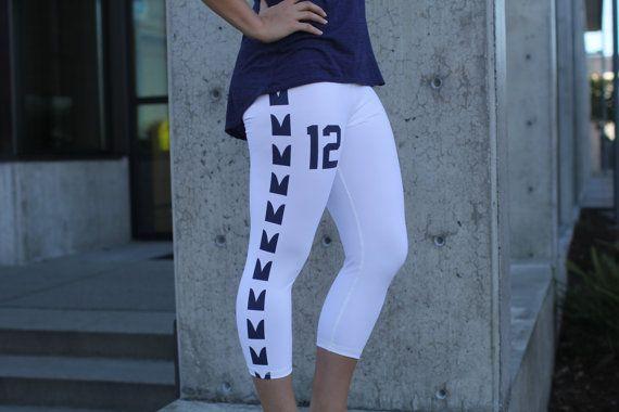 Seattle Seahawks Inspired Yoga Capri Pants by TwinVisionFashion