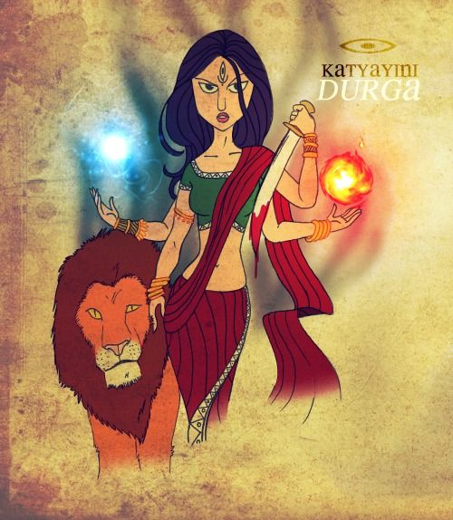 Katyayini is the sixth form amongst the Navadurga, worshipped during the sixth day of Navratri celebrations. A warrior Goddess, she is associated with the fierce forms of Shakti or Durga. She is often seen holding a shining Chandrahasa (Sword) and in the company of a magnificent lion, destroying demons with her skill and the power of her third eye, which she has received directly from the trinity and demi gods of the Hindu Pantheon. She is worshiped as the Demigod to whom if you make a vow…