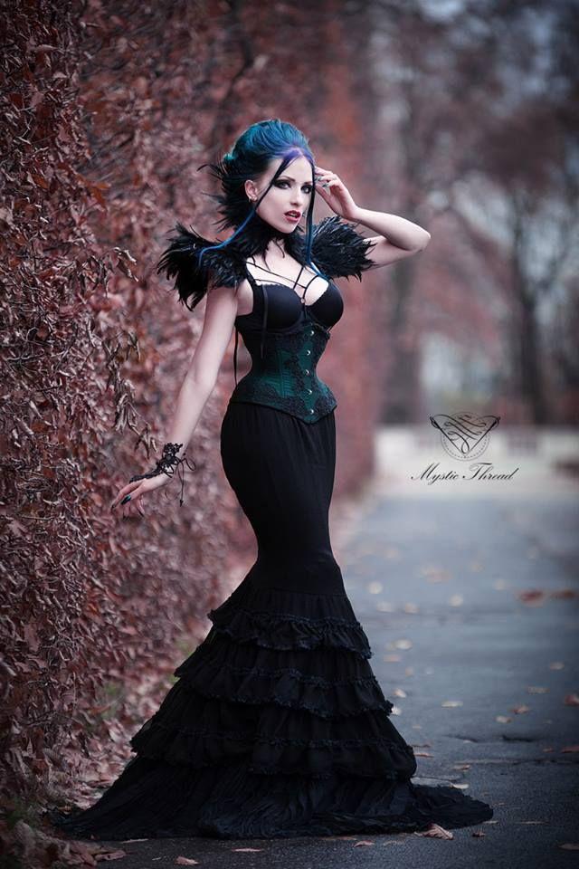 "mysticthread: "" Black lace feather gothic victorian neck corset and black feather costume shoulder pads Mystic Thread - www.mysticthread.com Model, make-up, styl, edit: Daedra Photographer: Unit Foto Feather neck corset & shoulder pads: Mystic..."