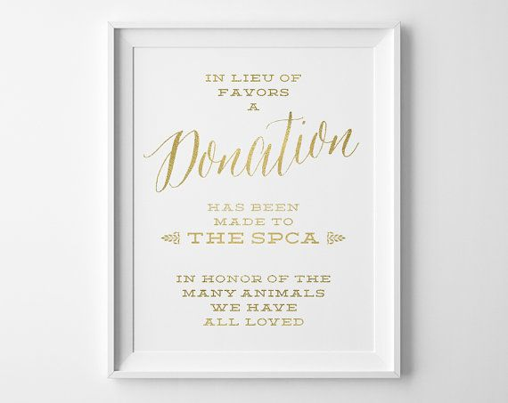 Wedding Signs, Donation Wedding Sign, In Lieu of Favors Donation Sign, Faux Matte Gold and White Wedding Reception Sign, WS1G