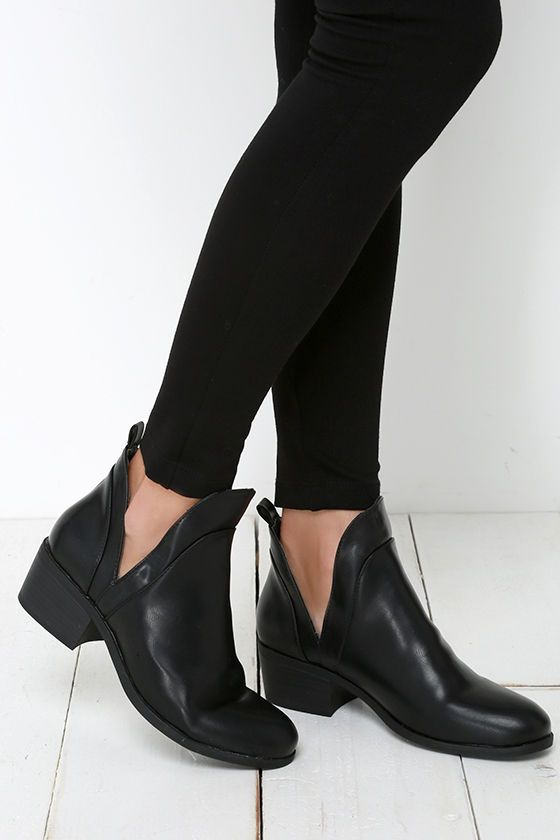 Change of Plans Black Cutout Ankle Boots at Lulus.com!