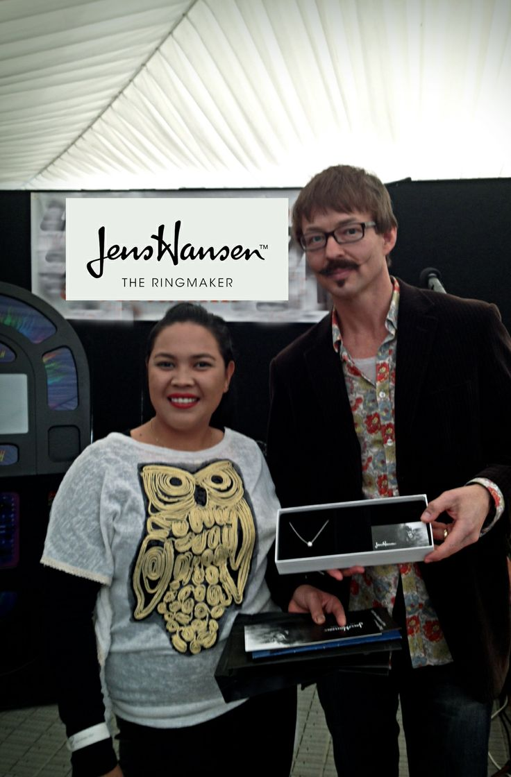 CONGRATULATIONS Shel Omar! Shel was the lucky winner of our Jens Hansen diamond necklace. Here she is with Halfdan Hansen at the Nelson Wedding show. Enjoy!