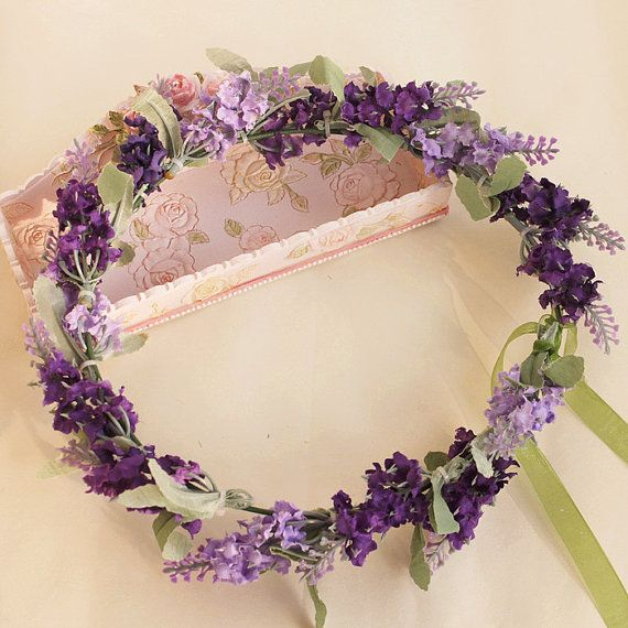 lavender flower hair wreath flower crown flowers by minehandcraft