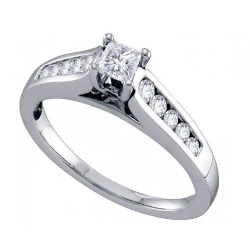 Women's White Diamond 0.50CTW 14K White Gold Engagement Ring GND68714-W5.5 | Sparkly Things Jewelry
