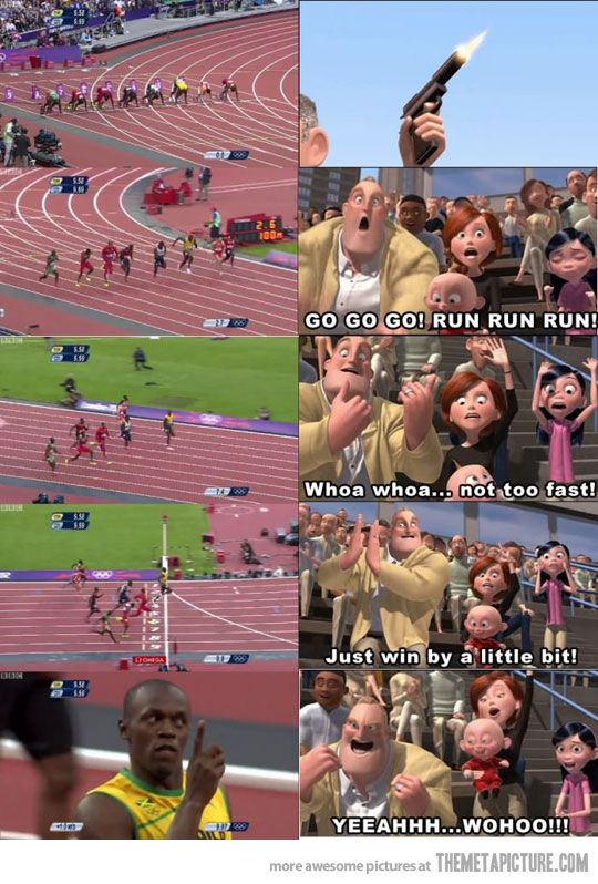I HATE when runners do this...Olympics Games, Funny Pics, Funny Pictures, Funny Photos, Keep Moving Forward, The Incredibles, Funny Memes, Usainbolt, Usain Bolt