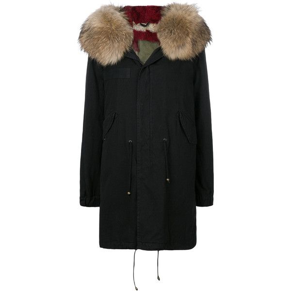 Mr & Mrs Italy trimmed hood midi parka (82,775 EGP) ❤ liked on Polyvore featuring outerwear, coats, black, embroidered coats, calf-length coats, army coats, midi coat and army parka