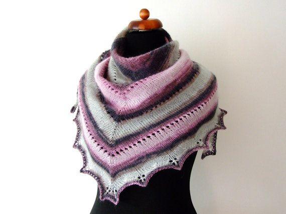 grey pink shawl handknit triangle scarf