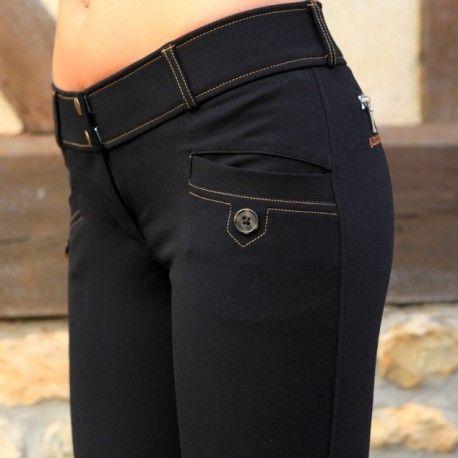 Pantalon d'équitation Alexandra Ledermann Sportswear : Idee-AL Noir