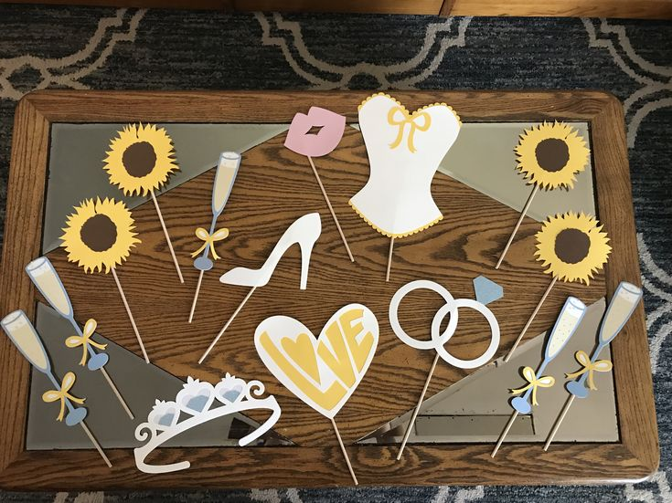 Bridal shower sunflower photo props made with cricut