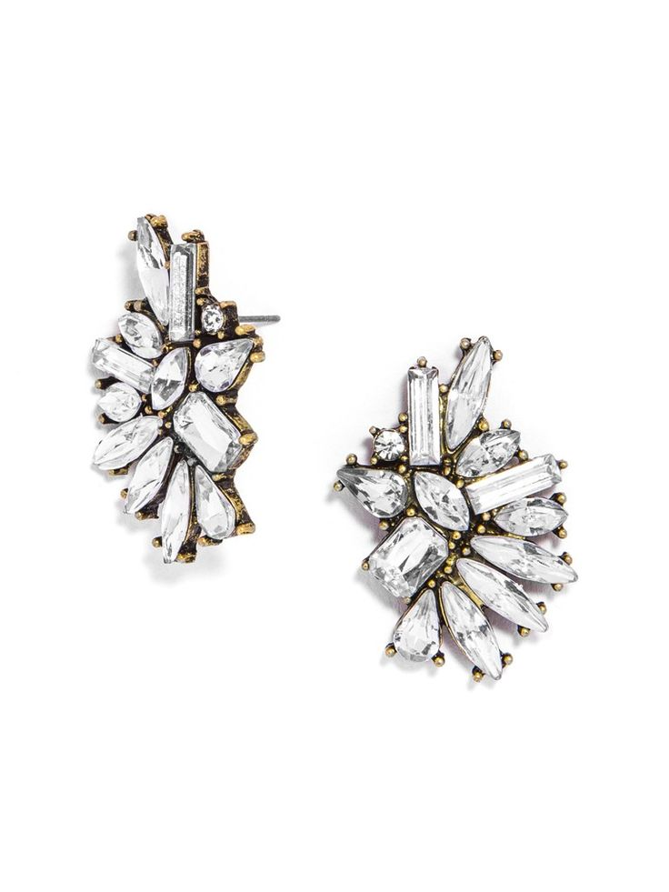 These oversized statement studs aren't for the faint of heart--the icy, abstract crystal motif is edgy cool and glamorous all at once.