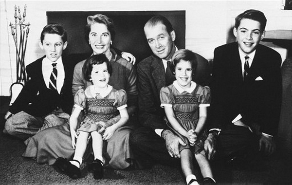 Jimmy Stewart with family, 1956 | James Stewart | Pinterest