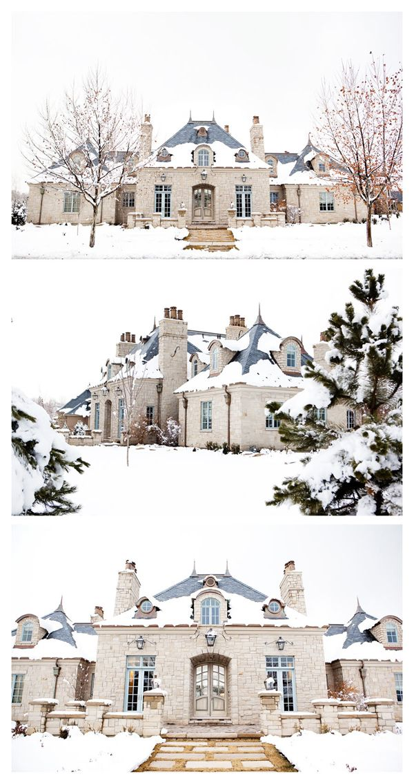 beautiful French country style home in the snow    WOW!  That house might have ROOM for all my fabric.....