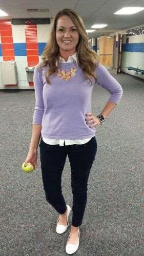 Chic Professional Woman Work Outfit. Teacher Clothing Blog Lilac