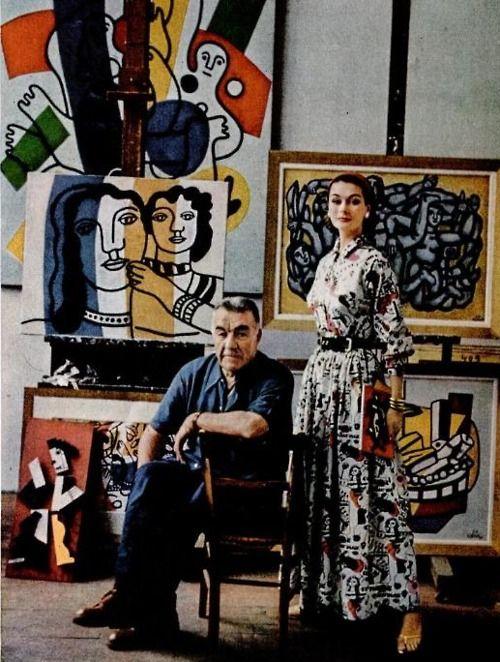 Famous Artist's Studios - Painter Fernand Leger in Studio with Model Anne Gunning - Photo Mark Shaw 1955