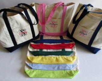 Bolso bordado personalizado todo lona del algodón - personalizada - barco - bordado - monograma - Dama de honor