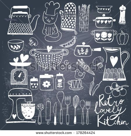 Vintage kitchen set in vector on chalkboard background. Stylish design elements: pepper-box, fork, spoon, bowl, pan, mixer, scales, colander, knife and others - stock vector