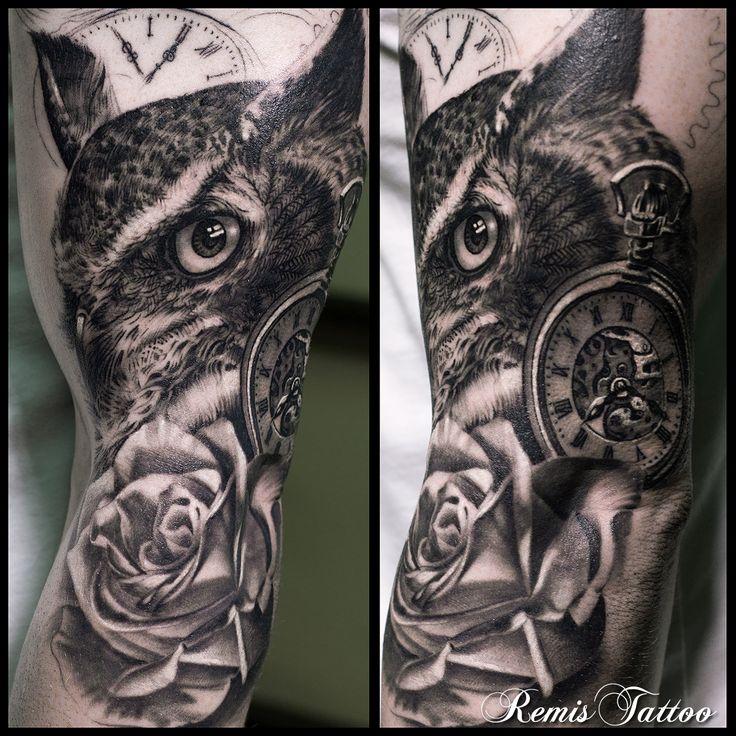 black and grey owl tattoo by Remis, remistattoo, realism, realistic tattoo, tattoo ideas, inspiration, sleeve, arm, half sleeve, full sleeve, owl tattoo, rose tattoo