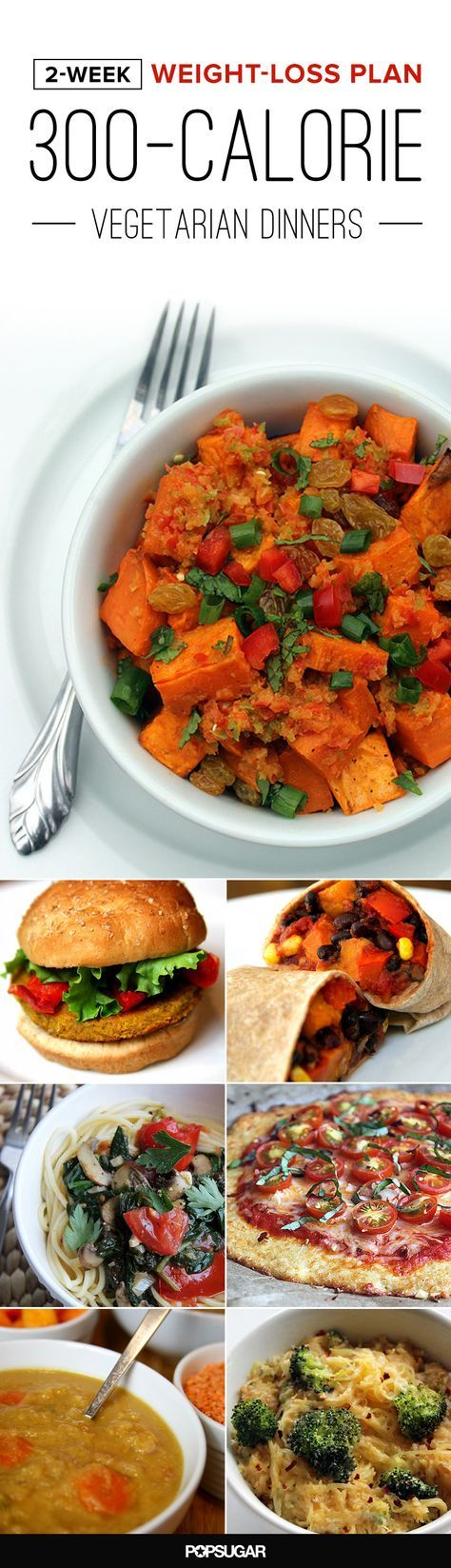 If you're used to eating big meals at night and are at a loss for what to make, here's a two-week (14-day) dinner plan — all recipes are vegetarian and around 300 calories.