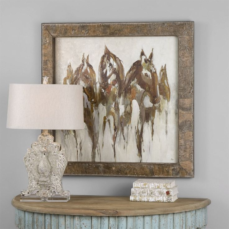 Uttermost 51104 equestrian in browns and golds abstract art