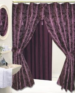 purple and brown shower curtain. I love this  bet Jordan would hate it Purple Double Swag 56 best Shower curtains images on Pinterest shower