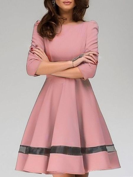 Fabulous Round Neck Patchwork Skater-dress Skater Dresses from fashionmia.com