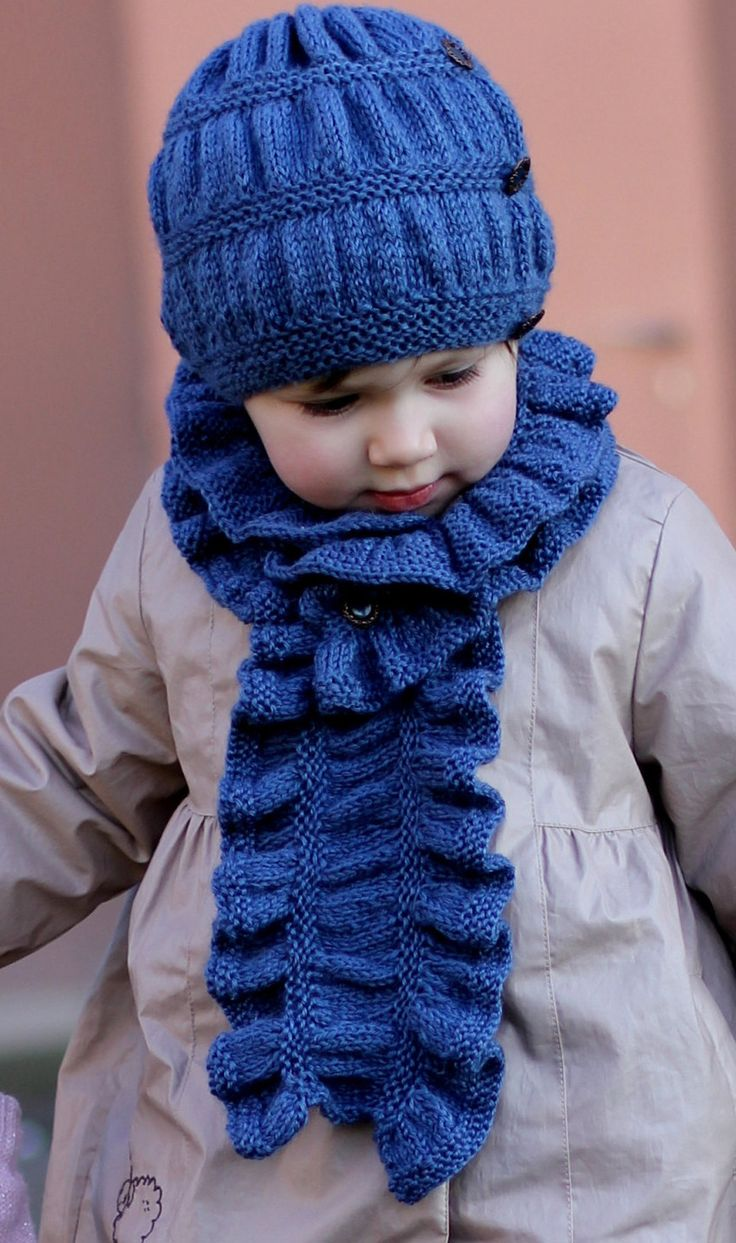Knitting pattern for easy Frill Hat and Scarf Set - #ad Adult, Child, and Toddler sizes. Easy ruffled hat and scarf in garter and stockinette. tba