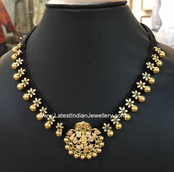 Latest designer dori necklace with removable naga pendant. This multi purpose adjustable dori necklace comes in lightweight design from bhavani