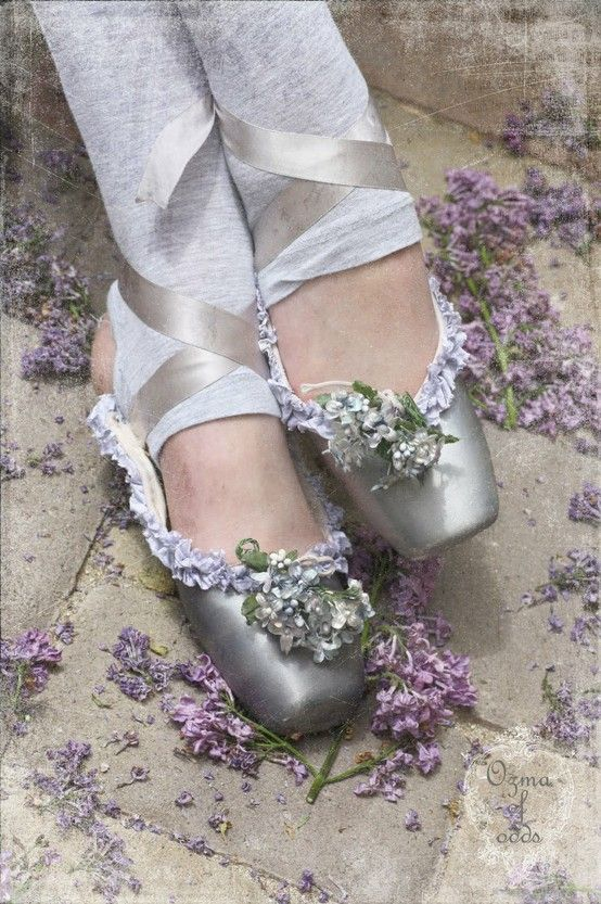 Ethereal grey silver ballet pointe slippers, purple lavender lilac flower embellishment