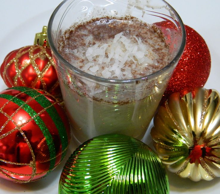 How to make Coquito or Puerto Rican Eggnog(Bilingual)  Here are the ingredients: 1 can condensed milk 1 can coconut milk 1 can cream of coconut 1 can evaporated milk 1 tablespoon ground cinnamon 1/8 teaspoon each of ground cloves and nutmeg Pinch of salt 1/2 cup white rum 1/2 cup coconut rum