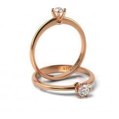 Inel de logodna din aur roz cu diamant Manole