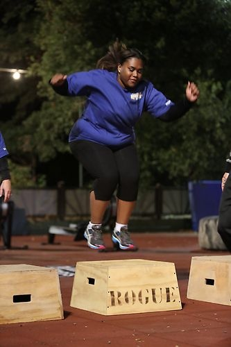 Alex nails her box jumps in a cross-fit workout. #BiggestLoser