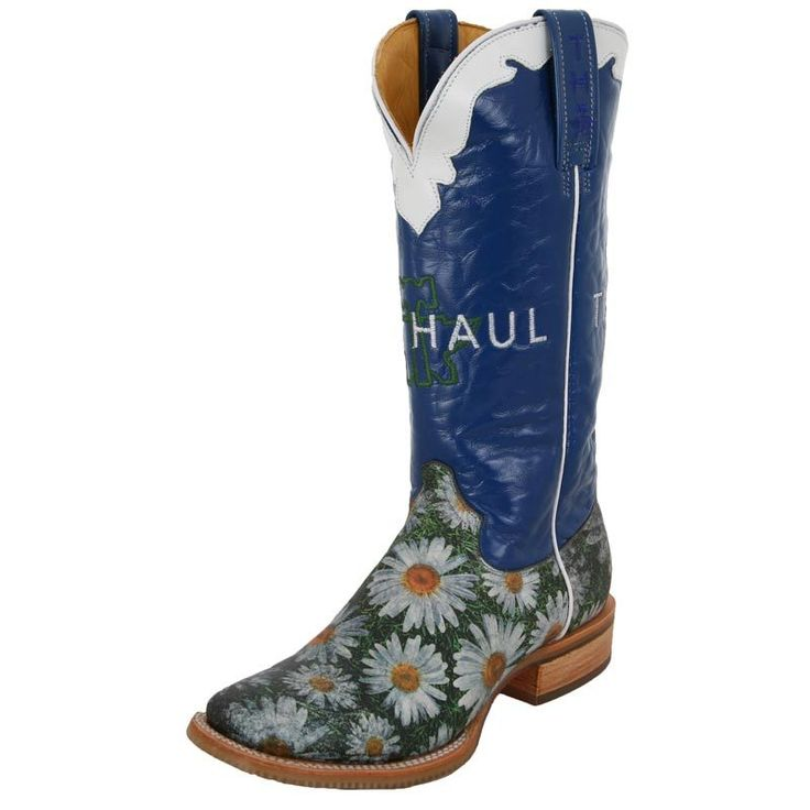 "Cute Blue Daisy Tin Haul Boots... soles say ""he loves me, he loves me not, who cares?"""