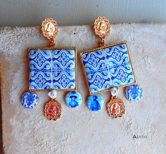Portugal Antique Azulejo Tile Replica Earrings by Atrio on Etsy