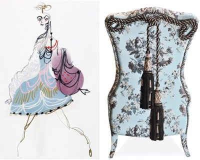 Left to right: Christian Lacroix's sketch of a costume for the Paris Opera Ballet production of La Source; Maximien 1 chair, price upon request; sicis.com