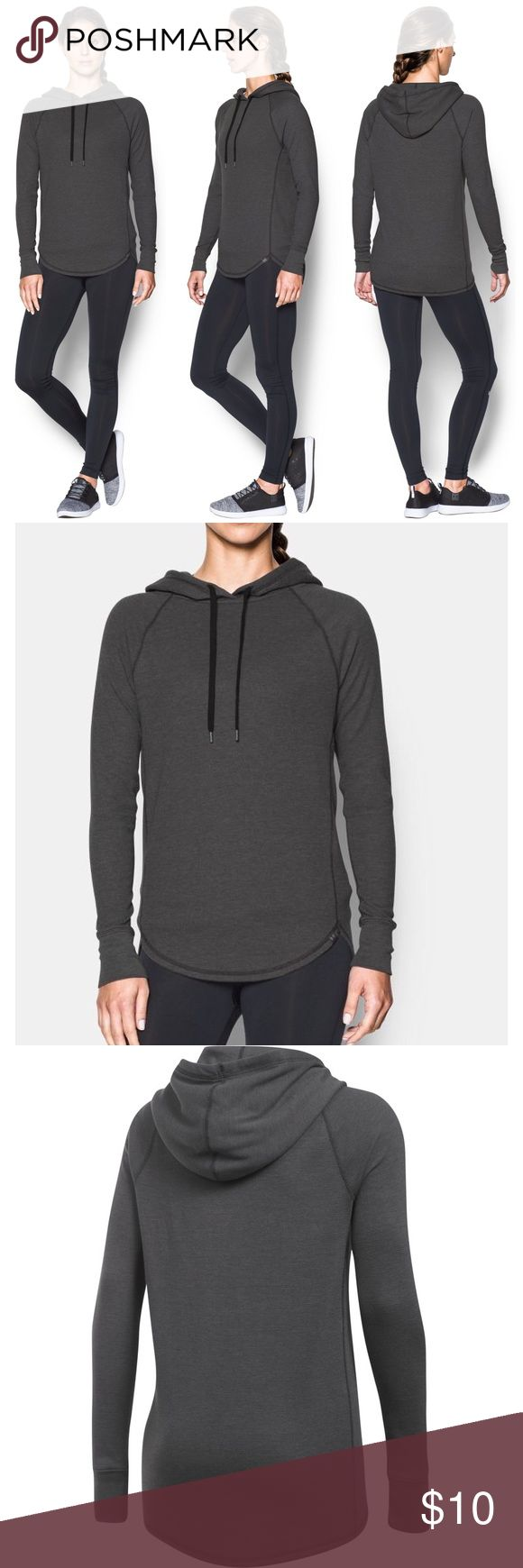 Under Armour Waffle Hoodie Under Armour dark grey women's waffle hoodie, size medium. Perfect for layering. Worn 3-4 times. Not quite as dark in real life as in the stock photos. More pics to come. Under Armour Tops Sweatshirts & Hoodies