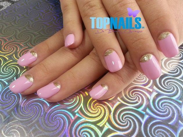 Acrylic Nails with enamel pink and gold   Hazte Fans o Me Gusta  en https://www.facebook.com/topnails.cl   www.topnails.cl ☎94243426, saludos Beatriz