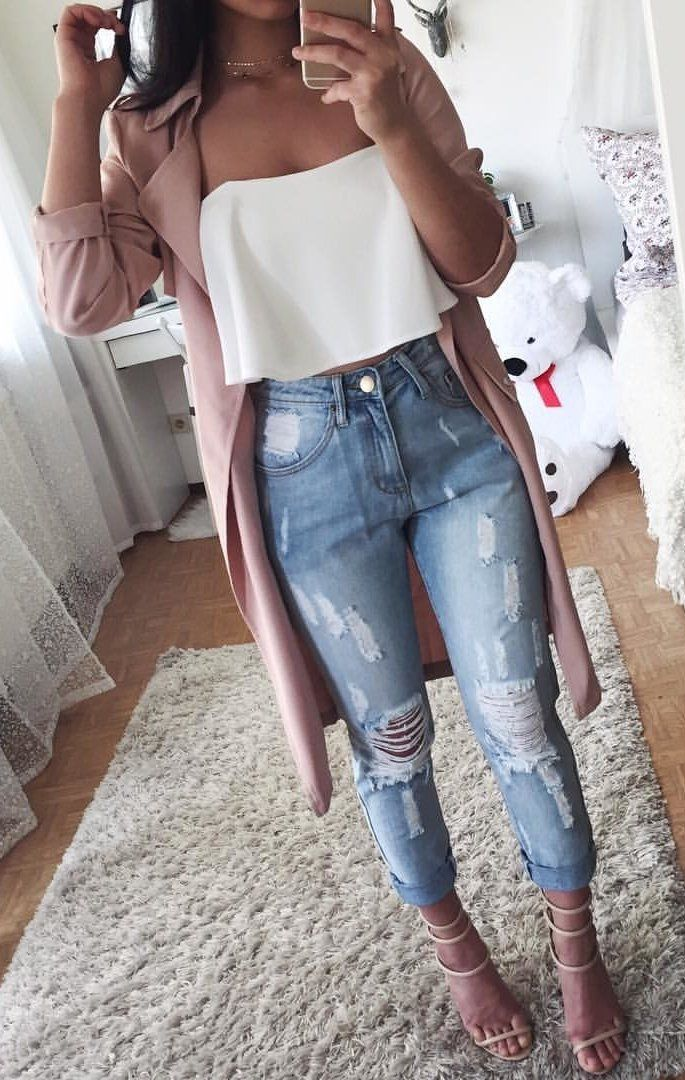 #fall #outfits women's white tube top and blue distress jeans with peach coat
