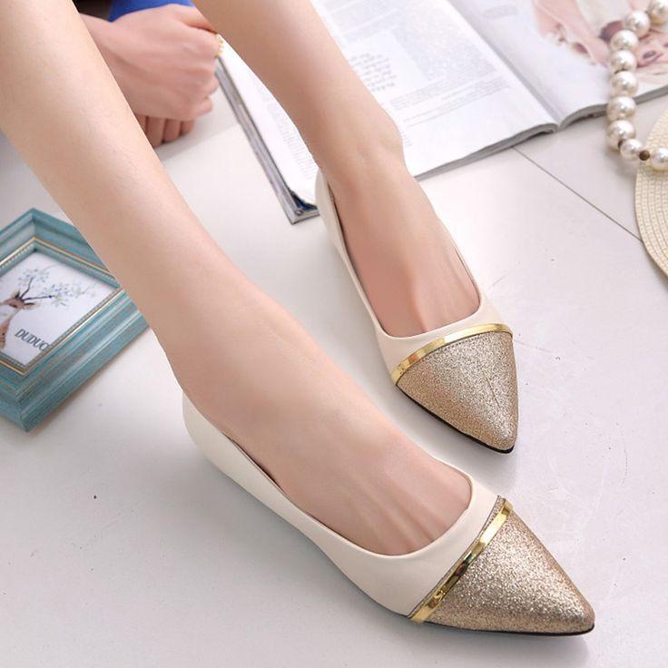 春秋のファッション女性靴尖ったつま先スリップオンフラットシューズ女性快適なシングルカジュアルフラッツサイズ36-39 zapatos mujer
