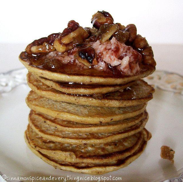 Banana Oatmeal Blender Pancakes w/ Brown Sugar Pecans & Strawberry Bu ...