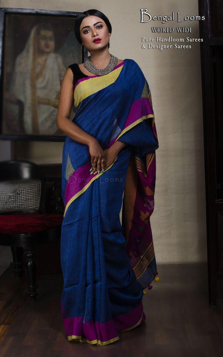 Beautiful Pure Handloom Royal Blue Khadi Linen Cotton