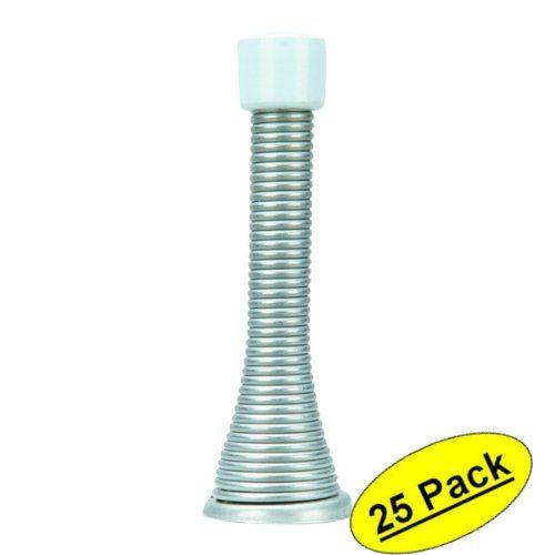 Designers Impressions Satin Nickel Spring Door Stop W/ Rubber Bumper: 1688    25 Pack