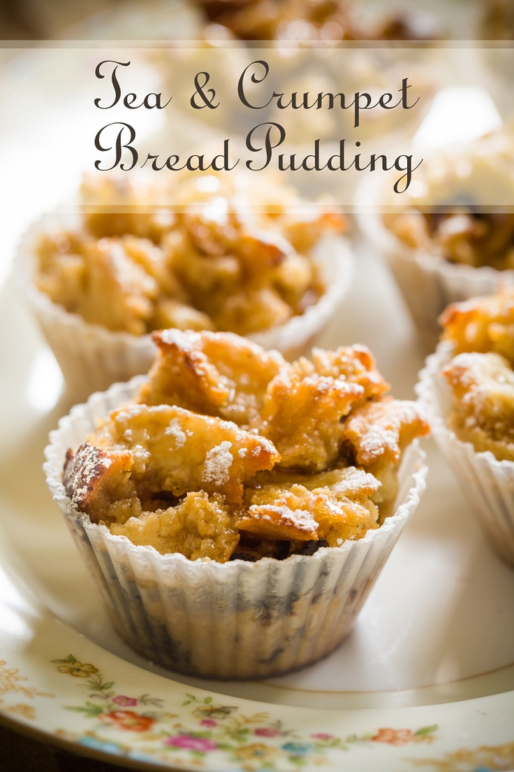 Sophisticated Tea and Crumpet Bread Pudding - made with Earl Grey tea. These would be perfect for a Sunday brunch!