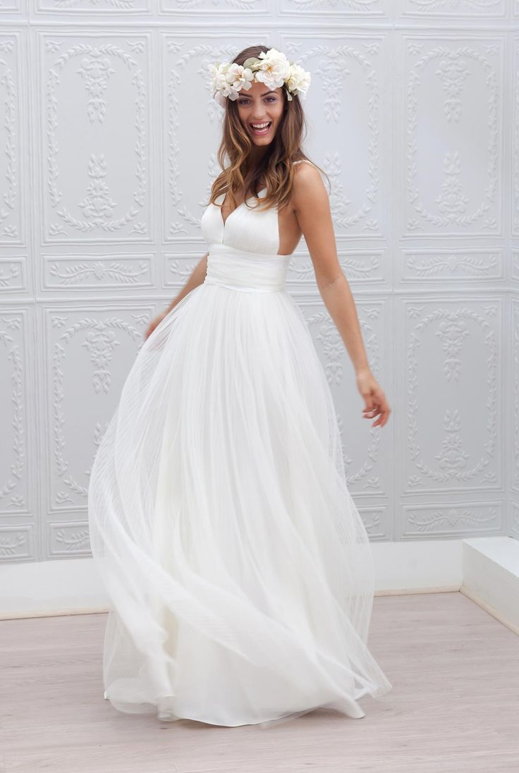 Chiffon Beach Wedding Dress $237