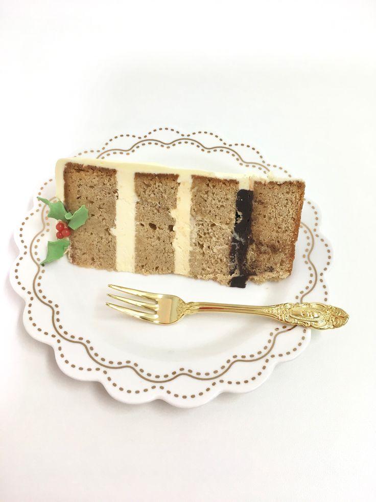 Modern Christmas! Chai latte cake with choc ganache and caramel Swiss butter cream
