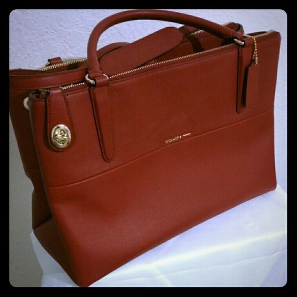 """Coach Borough Bag in Deep Red Authentic Brand New Coach Crossgrain leather Borough Bag with gold turnlock key and zippers. Inside: Snap closure lining & multifunction pockets. Handle width - 4.5"""" Strap 21.5"""" to wear on shoulder.   This must-have style icon is Sold Out everwhere!  Only serious offers welcome! Reasonable negotiations accepted! Available in Red or Black Coach Bags"""
