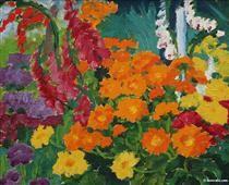 Flower garden (marigolds) - Emil Nolde