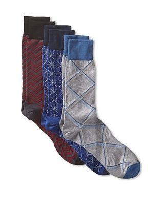 60% OFF Hook+Albert Men's Peruvian Cotton Dress Socks - 3 Pack (Red/Blue/Grey)